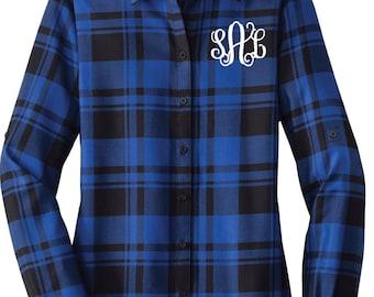 Monogram Flannel Shirt - Bridesmaid Flannels - Monogram Flannel Wedding - Plaid Flannel Wedding Shirts - Ladies Flannel - Wedding Flannels