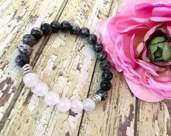 Rose Quartz Gray Spiderweb Jasper Healing Bracelet