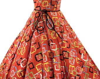 Vintage 1950s Orange Red Atomic Novelty Print Dress - 50s Cotton Dress