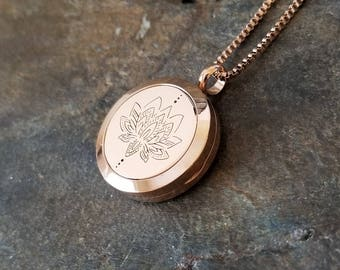EE Exclusive **Lotus** 25mm Rose Gold and 316L Stainless Steel Essential Oil Aromatherapy Diffuser Pendant Necklace S025