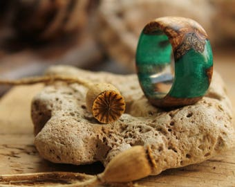 Jade ring malachite ring eco gift emerald ring resin ring custom ring boho jewelry engagement ring wedding gift for her bands ring wooden