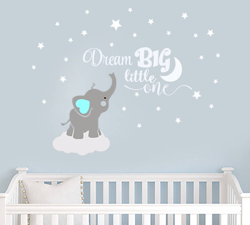 Paradisedecals by paradisedecals on etsy dream big little one elephant decal name wall decal elephant wall decal elephants baby boy room amipublicfo Images