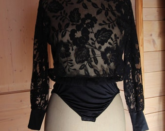 Black Lace sleeves Bodysuit long puffed vintage evening cocktail