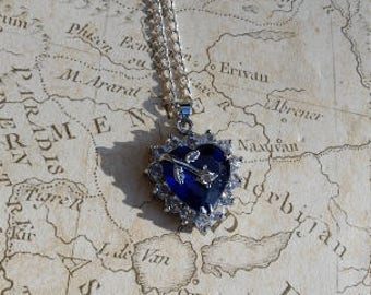 Heart Necklace, Crystal Heart Necklace, Blue Heart Necklace, Rhinestone Necklace, Love Necklace, Silver Heart Necklace, Royal Blue Necklace,