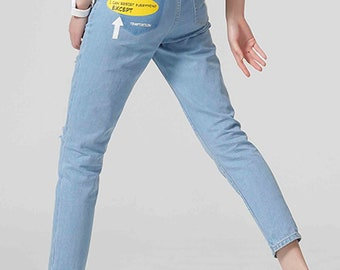 Pencil Harem Pants Lady Print Fashion Full Length Loose Jeans