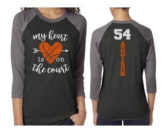 Glitter Basketball Mom Baseball Shirt Customized 3/4 Sleeve Raglan Basketball Mom Shirt