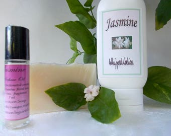 Jasmine Perfume Gift Set - Jasmine Sambac Perfume Oil, Whipped Body Lotion, Cold Process Soap - Organic Shea Butter