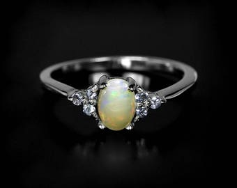 Gold Opal ring, Opal engagement ring, White opal ring, October Birthstone Jewelry, Tiny Dainty Opal ring, Anniversary Gift for wife birthday