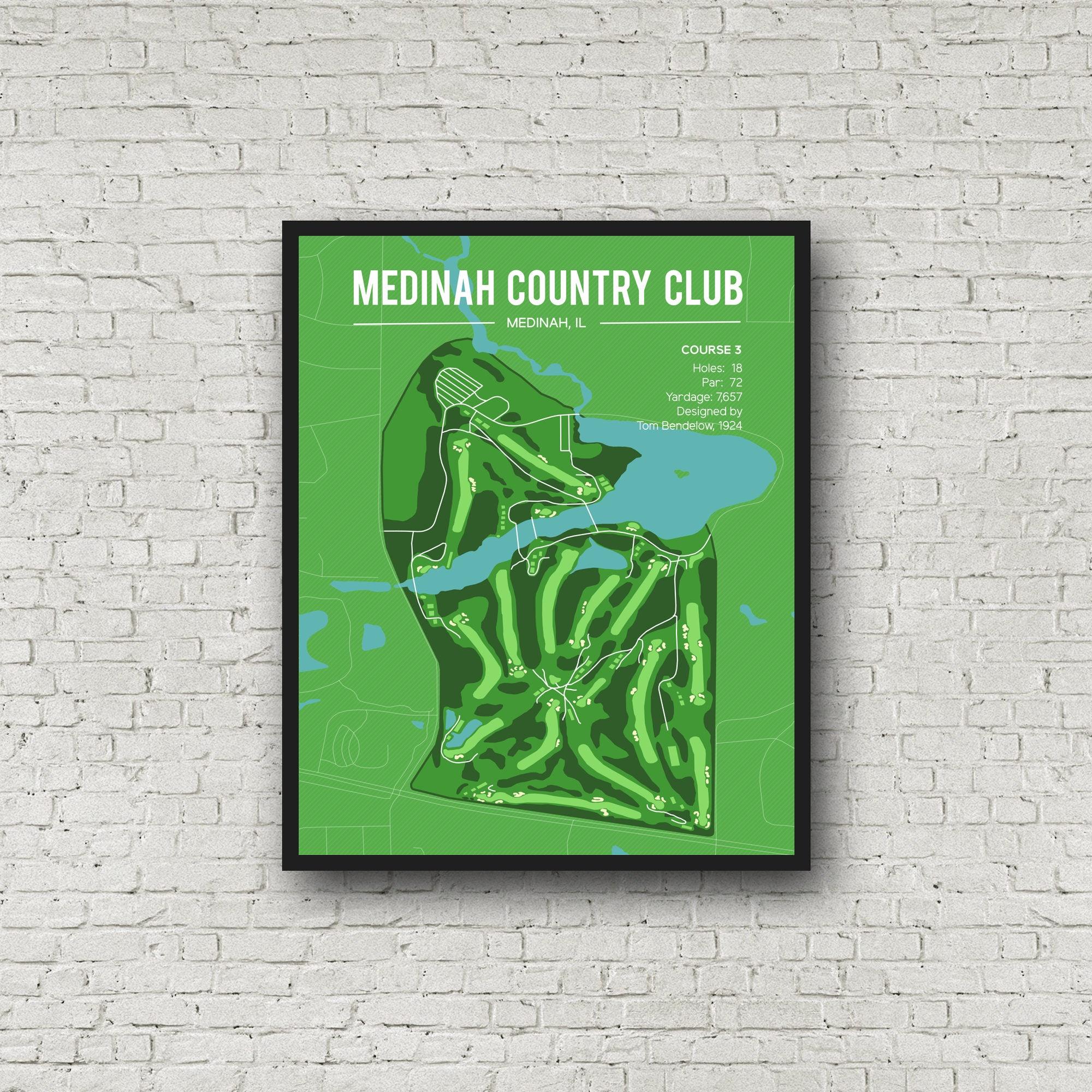 medinah country club golf course map golf print medinah