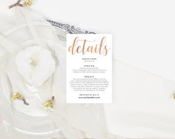 Rose gold wedding stationery, Wedding details card, Editable pdf, Instant download, Enclosure cards, Blush wedding stationery, ZRR1013