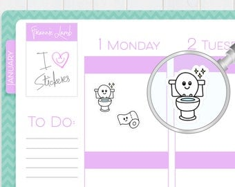 Toilet Stickers, Planner Stickers, Toilet Cleaning Stickers, Chore Reminder Stickers, Calendar Stickers, Kawaii Stickers, Cleaning Stickers