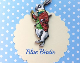 White rabbit brooch Alice in wonderland brooch white rabbit jewelry Alice in wonderland jewellery Alice in wonderland jewelry alice gifts