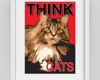 Think Cats, Giclée art print
