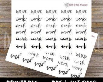 Work Lettering PRINTABLE Stickers