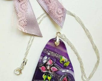 Stained and painted purple agate stone necklace