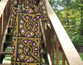 Vintage 1960s Lanvin Shirt Dress l 60s Geometric Print Dress l Long Sleeve Belted Maxi Dress l Tribal Print Dress l 16