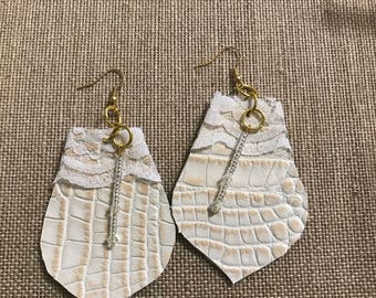 Lace and Leather Swarovski Earrings