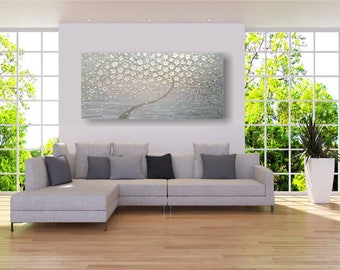 "XXL large acrylic painting on canvas 150x70x3, 5 cm (60 ""x28""), abstract tree with champagne blossoms ""flower Tree"" by VictoriasFineArt"