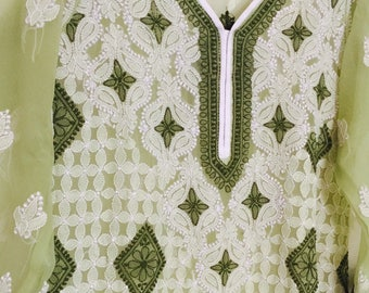 Georgette Lucknowi kurti- Indian Pakistani dress Bollywood clothes,chikankari kurta, kurti, tunic