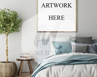 Bedroom Wood Frame Mockup, Wood Portrait Frame, Styled Stock Photograpy, , PSD Mockup, Digital Item, Natural Lighting, Rustic Frame Mockup