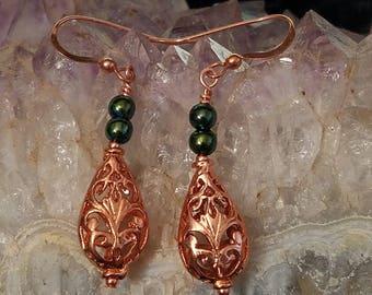 E1160 Copper and Titanium Coated Hematite Earrings, Teardrops, Genuine Copper, Filigree