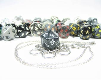 Black, Gray & White d20 Necklace and Key Chain Combo With Removable Dice - Gifts for Geeks and Gamers