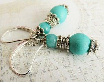 Turquoise blue earrings, dangle earrings, bridal jewelry, gift for her, wife gift, bridesmaid earrings