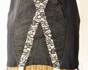 Lily Of France Open Bottom Pink Black Girdle 6 Leg Garter 1930s