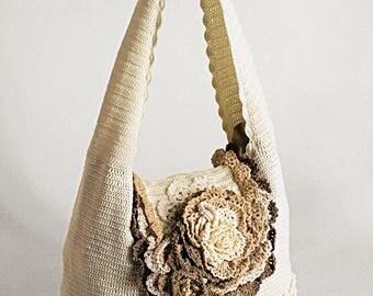"""Shoulder Handbag Eco """"Caramel"""" (crocheted eco-friendly shoulder handbags buy)"""