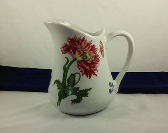 Vintage Water Pitcher, BIA Cordon Bleu Caroline, Hand Painted Floral on White Porcelain 32 Ounce Pitcher