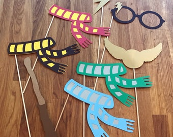 Photo Props: The Harry Potter Inspired Set (8 Pieces) - party wedding birthday die cut glasses lightening bolt scar house scarf wizard