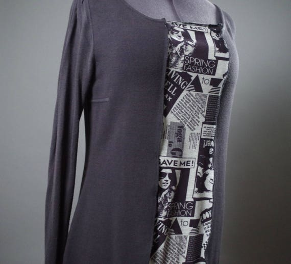 Up-cycled Casual Dress - Up-cycled Clothing - Tunic Dresses - Women's Casual Dress - Long Sleeve Casual Dress - Large Size Tunic Dress