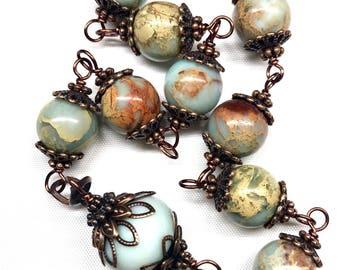 LARGE TENNER, Catholic Rosary, Decade Rosary, Copper & Aqua Terra Jasper, Prayer Beads, Inspirational, Religious, Christian Faith, Spiritual
