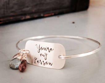 Greys Anatomy Bracelet, You Are My Person Jewelry, Meredith Grey, You're My Person Bracelet, Best Friend Bracelet, BFF Gift, Girlfriend Gift