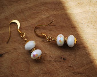Ea-41 Opaque white luster faceted glass rondelles, stacked beaded dangle earrings with gold plated saucer spacer and choice of ear findings.
