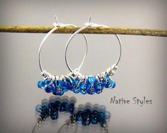 """1""""Cluster Hoop Earrings,Blue Glass Bead Hoops,Small Cluster Hoops,Boho Weddings Gift,Bridemaids Party Gift,Seed Beaded Hoops,Cluster Dangles"""
