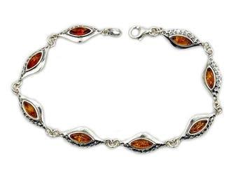 Amber Bracelet Cognac Bracelet Link Bracelet & Sterling Silver Bracelet , Jewelry AE337