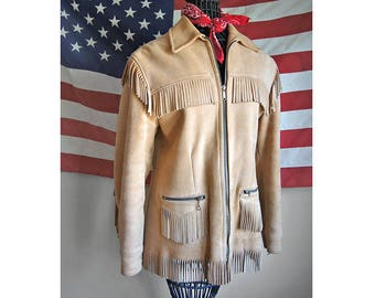 Vintage Buckskin Fringed Leather Jacket by Uber - Made in USA - Red Quilted Lining - Western Wear - Women's Small Medium