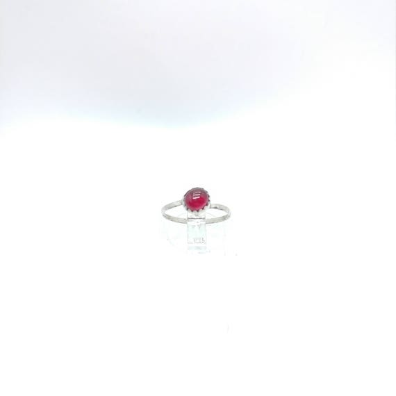 Simple Red Ring | Ruby Knuckle Ring | Sterling Silver Ring Sz 5.5 | Oval Ruby Ring | Red Ruby Ring | July Birthstone Ring