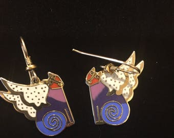 "Laurel Burch Vintage ""CAT GODDESS"" Dangle Earrings - Gold"