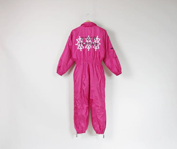 80s Snowmachine neon pink embroidered ski suit one piece coveralls / size S-M
