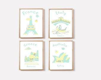 22 Nursery wall art,baby room decor,set of 4 prints,monuments nursery,France,Italy,Greece,Australia,teal,yellow