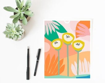 Scandinavian print, wall art, illustration, scandinavian art, colorful wall art, floral print, flowers, pink, blush, yellow, botanical