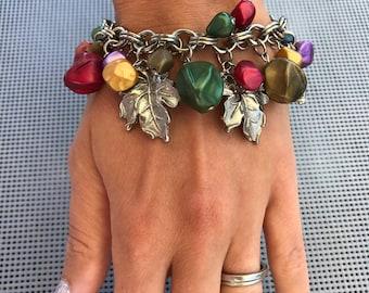 Vintage Charm Bracelet // Leaf Charm Bracelet // Celluloid Bead Charms // 60s Bracelet // Fall Colors Autumn Bracelet // Celluloid Bracelet