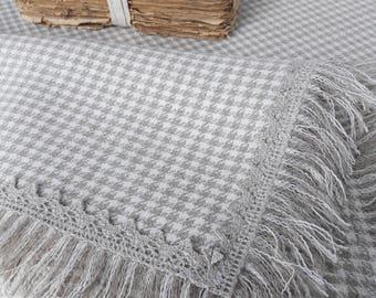 Linen table cover Tablecloth Natural linen Plaid tablecloth Table blanket Fringe table linen Grey linen Cottage chic Farmhouse tablecloth