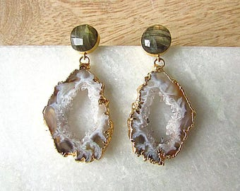 Geode earrings with round Labradorite posts, statement earrings, natural stone jewelry, gift for her, anniversary jewelry