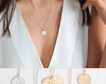 Personalized Disc Necklace, Silver Mothers Necklace with Custom Initials Necklace, Custom Mother Jewelry, Sterling Silver Initial Pendant