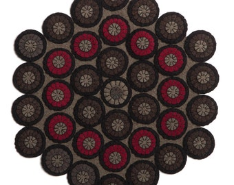 Six sided penny rug