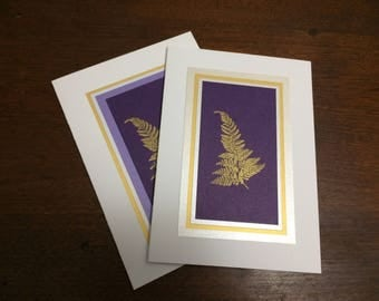 Gold ferns on purple embossed Christmas cards (set of 2), individually handmade: A7, peace on earth, holiday card, winter card, SKU PEA71004