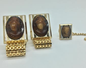 Hickok Lady Cameo Cufflinks and Tie Tac Set